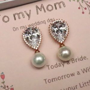 Rose gold drop earrings for mother of the bride